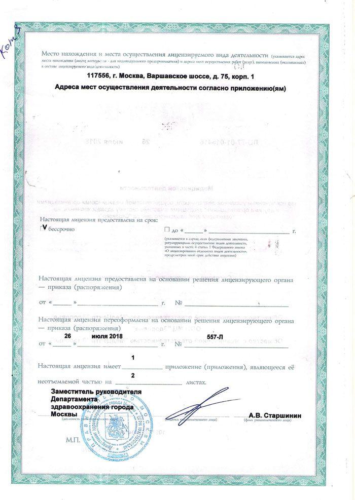 Лицензия на медицинскую деятельность (стр.2)